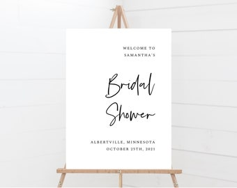 Minimal Bridal Shower Sign Template, Instant Download, Sizes 18x24, 20x30, 24x36, 148