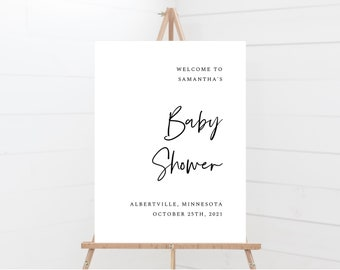 Minimal Baby Shower Signs, Baby Shower Welcome Sign Template, 148