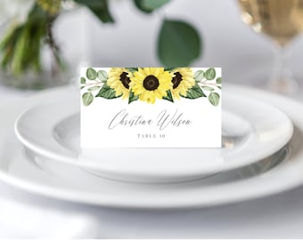 Wedding Place Cards Printable Template, Folded Wedding Place Cards, Escort Cards, Sunflowers Greenery Rustic 144