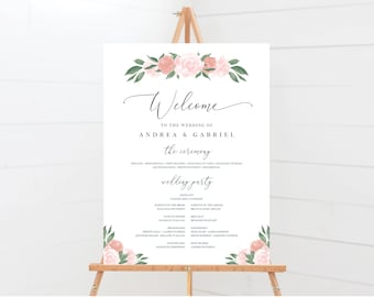 Pink and Coral Floral Wedding program Sign Template