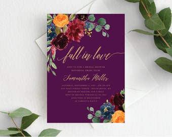 Fall Bridal Shower Invitation Template Fall in Love Bridal Invite Autumn Floral Fall In Love Wedding Shower, Orange Burgundy Purple, 140V4