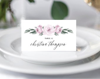 Wedding Place Cards Template, Escort Cards, Purple Lavender Floral, Fully Editable Colors and Wording with Templett, 139V2