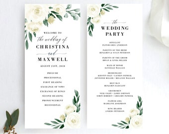 Greenery Wedding Program Template, Printable Ceremony Programs, DIY Editable Template, 139V1