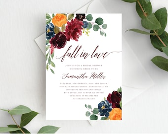 Fall Bridal Shower Invitation Template Fall in Love Bridal Invite Autumn Floral Fall In Love Wedding Shower, Orange Burgundy Marsala, 140V1