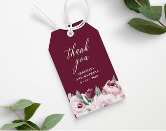 Burgundy Marsala Wedding Gift Tag Template, Printable Instant Download, 139V3