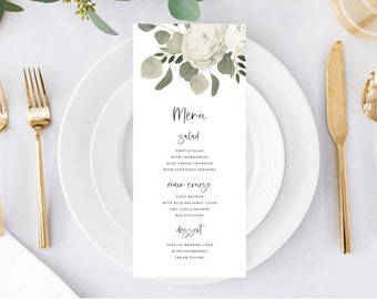 Wedding Menu Template, Dinner Party Menu Printable, Eucalyptus Greenery Wedding, 151