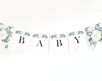 Dusty Blue Baby Shower Banner Template