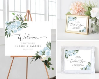 Wedding Welcome Sign, Wedding Signs Template Bundle with Dusty Blue Floral Design, Fully Editable Colors and Wording with Templett, 137V15