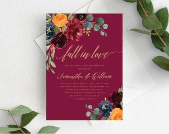 Couples Shower Invitation Template Fall in Love Couple's Shower Autumn Floral Fall In Love Wedding Shower, Orange Burgundy Marsala, 140V2