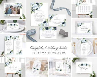 Dusty Blue and Navy Floral Wedding Invitation Template Bundle