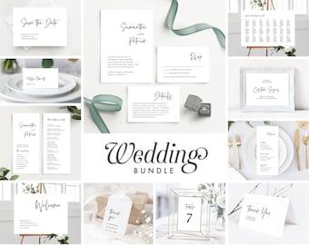 Minimal Wedding Invitation Template Bundle , Simple Wedding Invite Suite Instant Download, 148