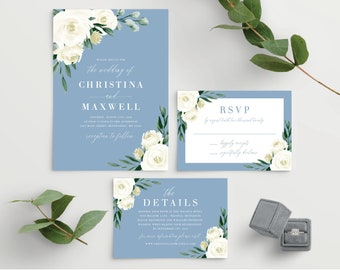 Wedding Invitation Template, Wedding Invitation Set, Printable Wedding Invitation, Dusty Blue Greenery White Floral, Instant Download, 139V4