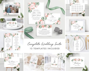 Pink and Coral Floral Complete Wedding Template Bundle