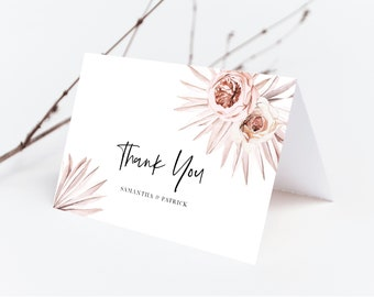 Boho Floral Palm Leaf Thank You Card Template, Folded Thank You Card, Instant Download, 150