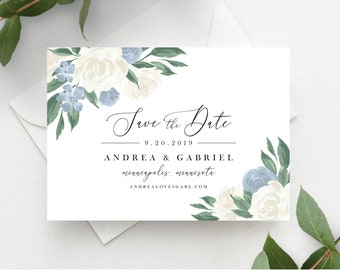 Dusty Blue Floral Save the Date Template