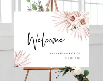 Boho Floral and Palms Wedding Welcome Sign Template, Instant Download, 150
