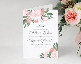 Pink and Coral Floral Folded Wedding Ceremony Program Template