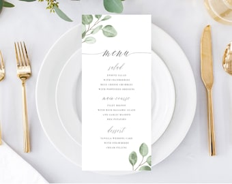 Printable Wedding Menu Card Template Download, Watercolor Eucalyptus Greenery Menus, 139V6