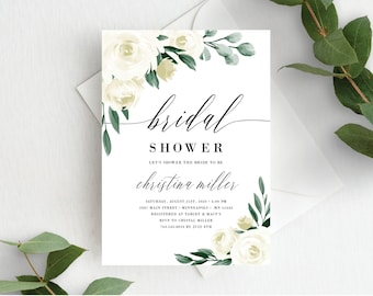 Greenery Bridal Shower Invitation Template, Editable Invite Template, Instant Download, White Floral, 139V1