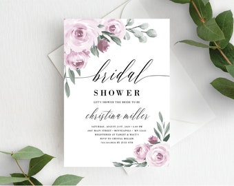 Bridal Shower Invitation Template, Editable Invite Template, Instant Download, Mauve Lavender Purple Floral, 139V2