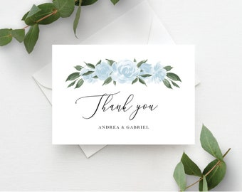 Thank You Card Template with Dusty Blue Floral Design, Fully Editable Colors and Wording with Templett, 137V15