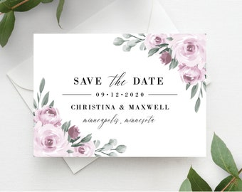 Save the Date Template, Purple Lavender Floral, Save the Dates, Templett, Printable, Instant Download, 139V2