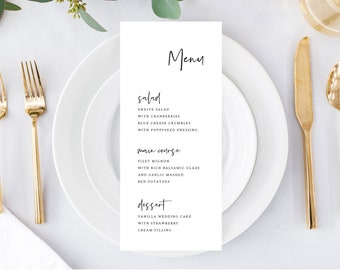 Wedding Menu Template, Minimalist and Simple, Printable Menu Card, Fully Editable Colors and Wording with Templett, 148