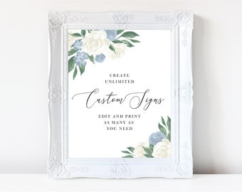 Dusty Blue and White Floral Tall Wedding Sign Template