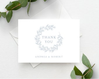 Thank You Card Template, Minimal Leaf Calligraphy, Fully Editable Colors and Wording with Templett, Olivia in Dusty Blue