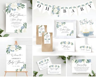 Dusty Blue and White Floral Baby Shower Invitation Bundle