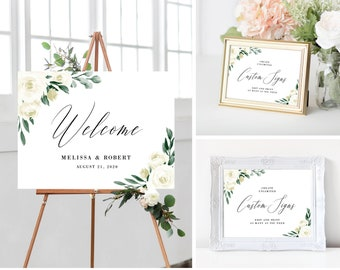 Wedding Welcome Sign Template Bundle, Printable Wedding Signs, Greenery and White Floral, Instant Download, 139V1