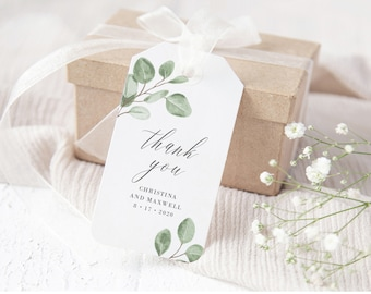 Eucalyptus Greenery Wedding Gift Tag Template, Printable Instant Download, 139V6