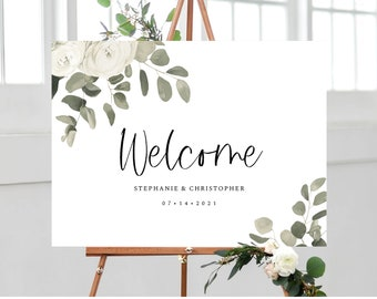 Greenery Eucalyptus Wedding Welcome Sign Template, Instant Download, 151