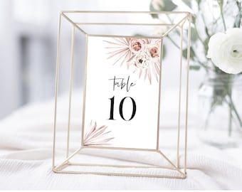 Boho Floral Palms Wedding Table Number Template, 4x6, Instant Download, 150