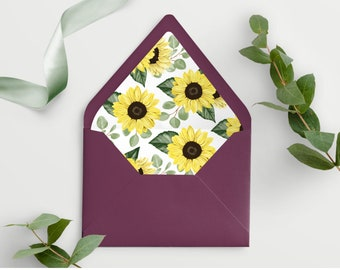 Sunflower Envelope Liner Template, 100% Editable and Printable, Edit all the Colors including the Flowers! 144