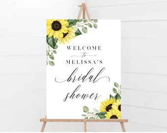 Sunflower Bridal Shower Welcome Sign, 18x24, 24x36, 100% Editable with Templett, Instant Download, 144