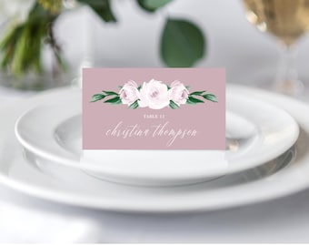 Wedding Place Cards Printable Template, Folded Wedding Place Cards, Escort Cards, Dusty Rose Floral Watercolor 139V5