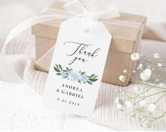 Wedding Favor Gift Tags Template with Greenery and Dusty Blue Floral Design, Fully Editable with Templett, 137V15