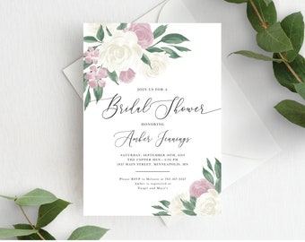 Bridal Shower Invitation Template, Editable Invite Template, Instant Download, Dusty Rose Pink Floral, 137V9