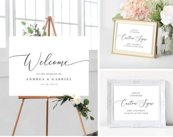 Wedding Welcome Sign Template Bundle with Small Wedding Reception Signs, Minimal Simple Calligraphy, Printable Instant Download, 137V18