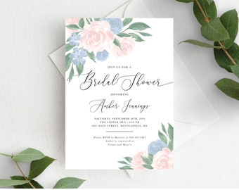 Bridal Shower Invitation Template, Editable Invite Template, Instant Download, Blush Pink Dusty Blue Floral, 137V10