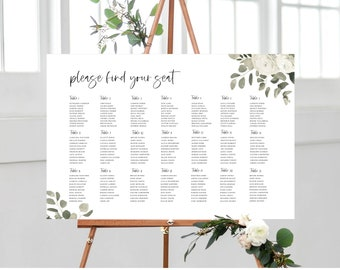 Greenery and White Floral Seating Chart Template Sign 151