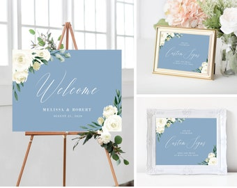 Wedding Welcome Sign Template Bundle, Printable Wedding Signs, Dusty Blue Greenery White Floral, Instant Download, 139V4
