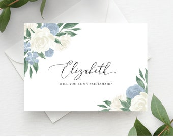 Dusty Blue Floral Bridesmaid Proposal Card