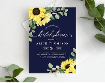 Sunflower Bridal Shower Invitation Template, Printable Navy Bridal Shower Invite, Editable Wedding Shower, Instant Download, 144