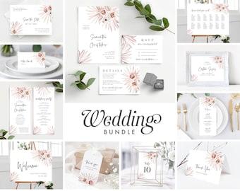 Boho Wedding Invitation Template Bundle, Palm Wedding Invite Suite Instant Download, 150