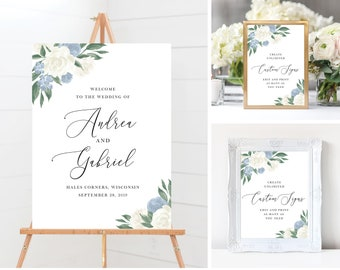 Dusty Blue and White Floral Wedding Sign Template Bundle