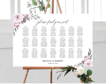 Wedding Seating Chart Template, Purple Lavender Floral, Fully Editable Colors and Wording with Templett, 139V2