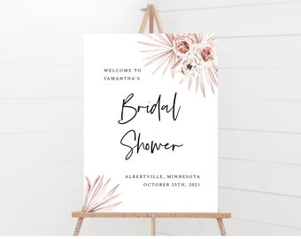 Boho Bridal Shower Sign Template, Instant Download, Sizes 18x24, 20x30, 24x36, 150