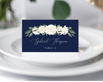 Dusty Blue and Navy Floral Wedding Place Cards Template